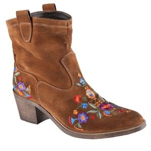ALDO Limeira Embroidered Suede Booties Brown 7